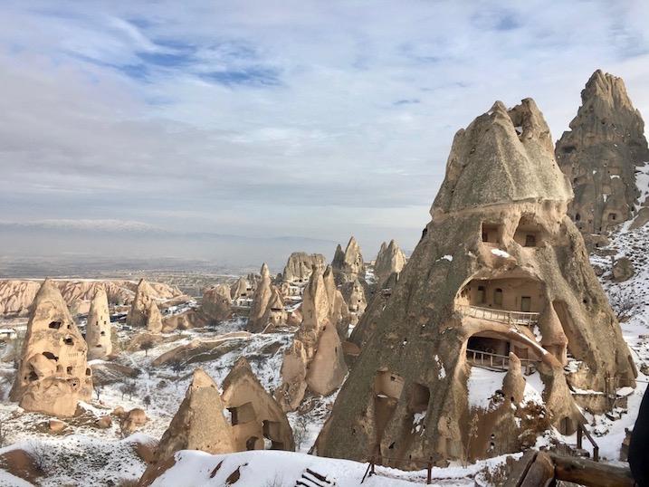 Kapadokien im Schnee in Uchisar