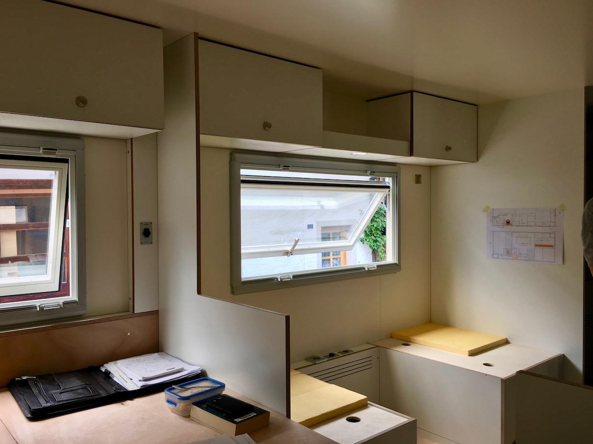 Das spätere Wohnzimmer von unserem Wohnmobile Mole ein Fuso Canter Wohnmobile
