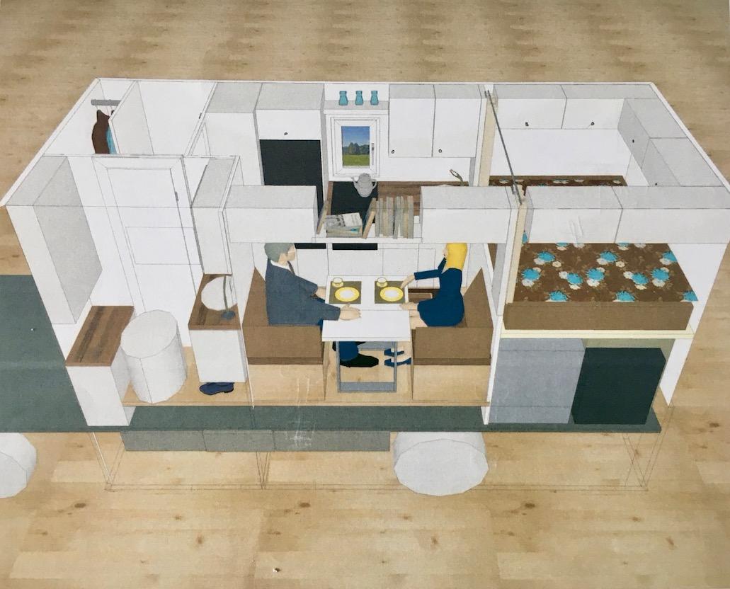 Computerplanung der Kabine des Wohnmobiles
