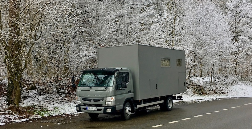 "mole-on-tour ""Fuso Canter"" Wohnmobile / erste Fahrt im Schnee ""Fuso Canter"" Wohnmobile"