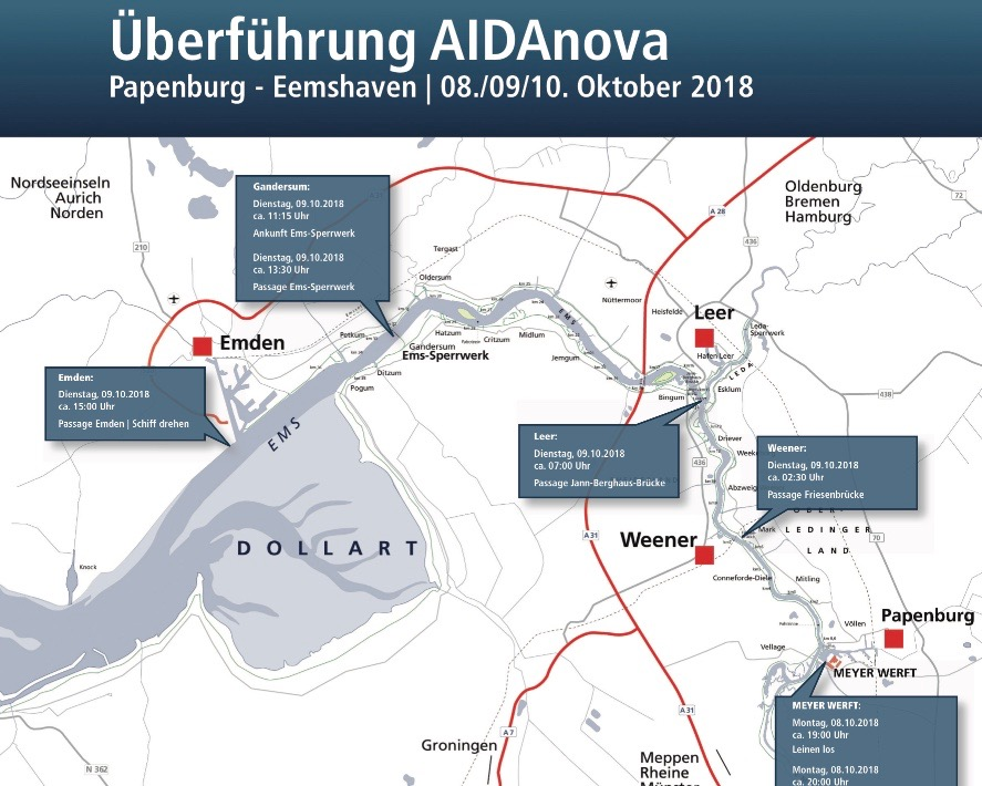Überführung-AIDAnova die letzten aktuellen Termine