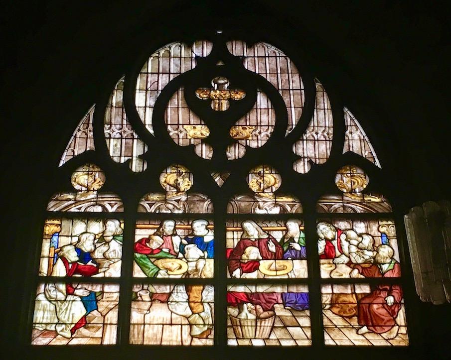 """St.Maria-zur-Wiese-Soest Fenster mit """"westfälischem Abendmahl"""""""