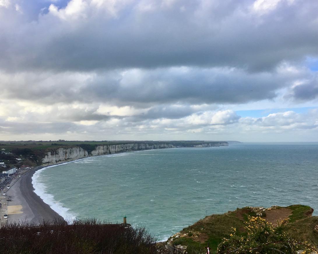 Blick von Le Cap Fagnet auf Bucht von Fécamp Normandie Frankreich