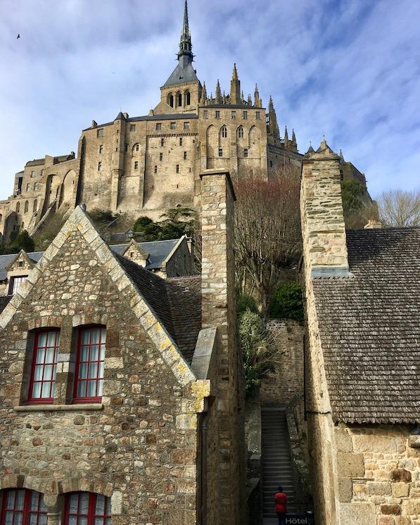 Leere Gasse Le Mont-Saint-Michel Normandie Frankreich Weltkulturerbe