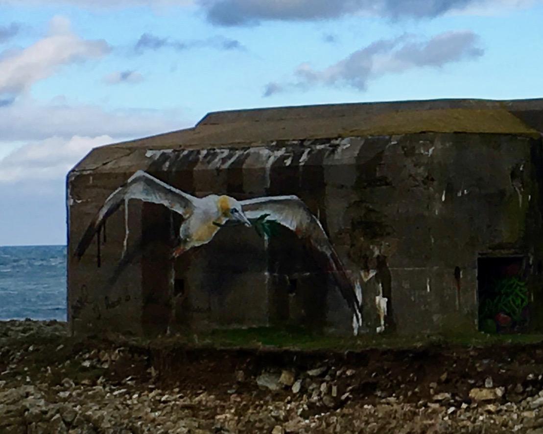 Friedensmöve am Bunker Cap-La-Hague Cotentin Normandie Frankreich