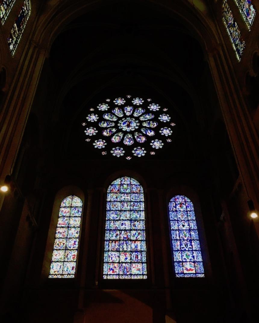 Große Rose Westfassade Kathedrale Notre-Dame Chartres Bretagne Frankreich Weltkulturerbe