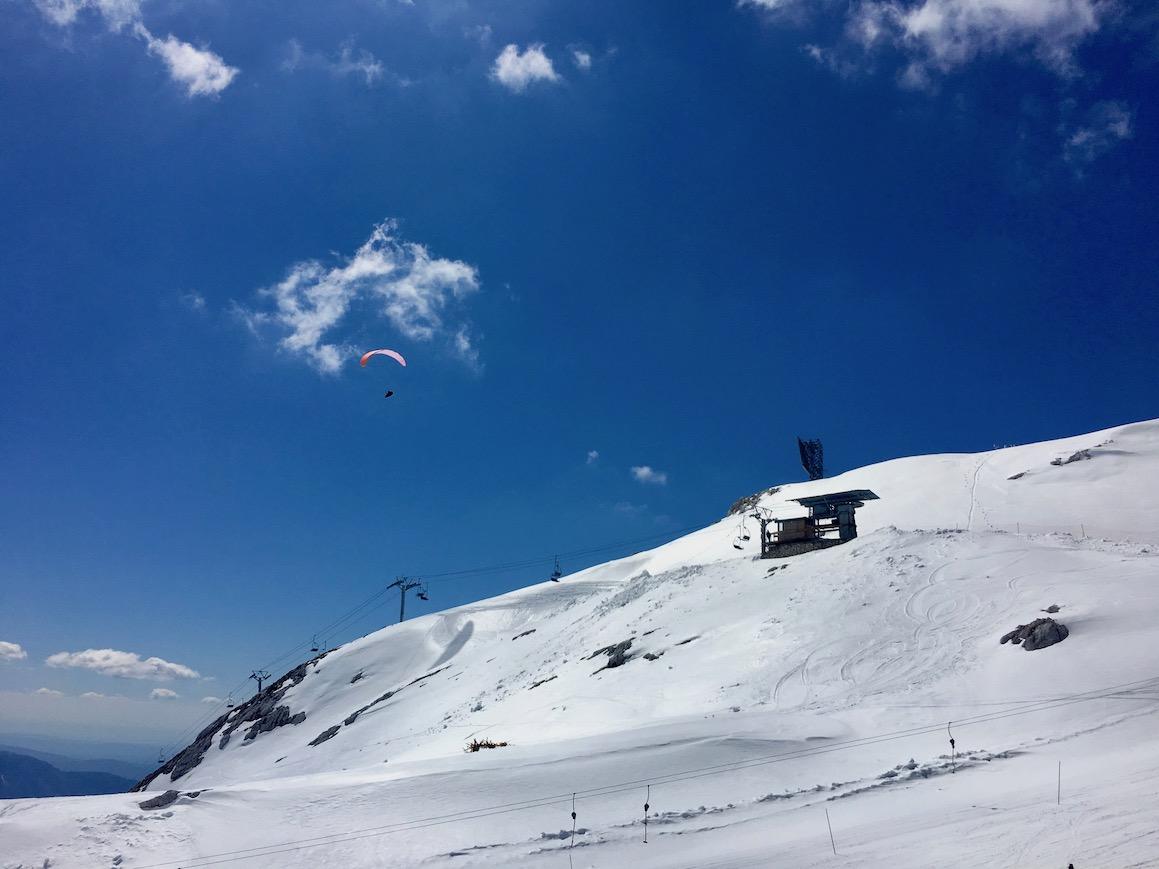 Paragliding auf 2300 m am Kanin