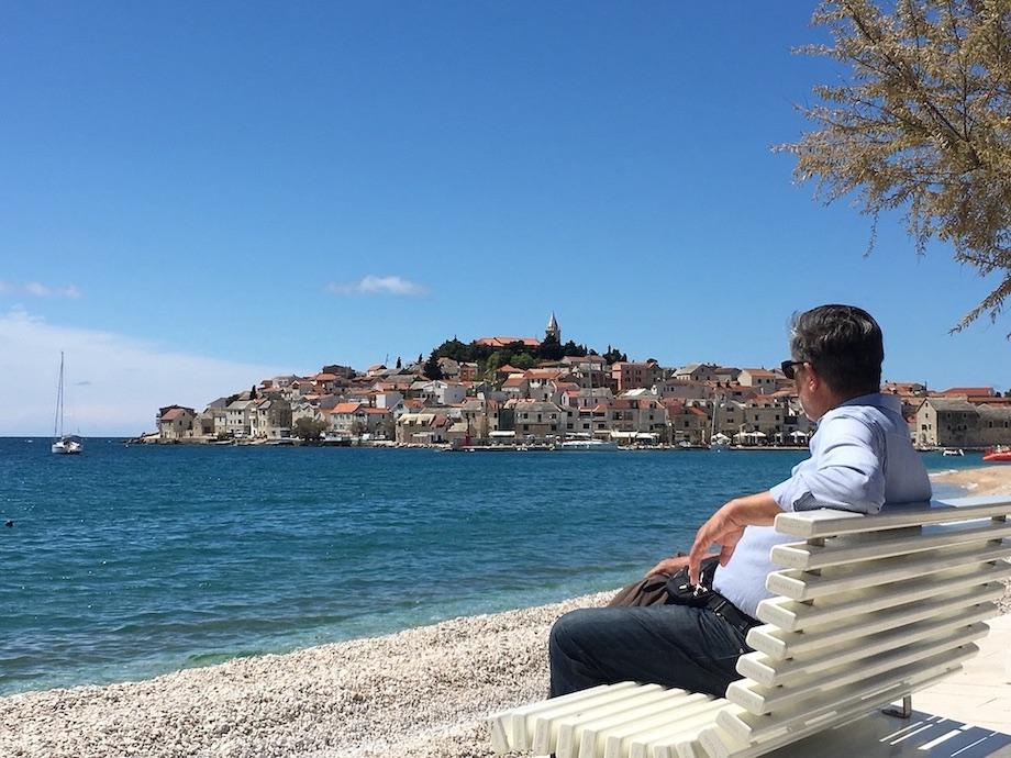 Primosten Historische-Altstadt Adriaküste Dalmatien Kroatien Altstadt Primosten auf der Halbinsel
