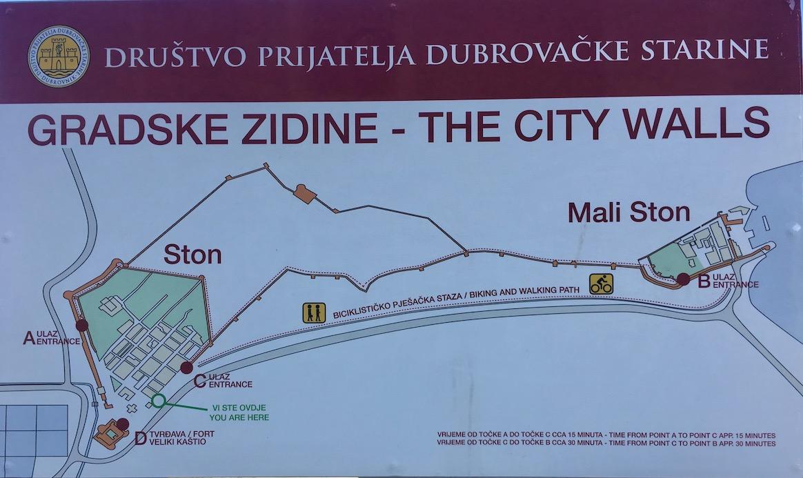 Plan der Wehrmauer Ston und Mali Ston Kroatien