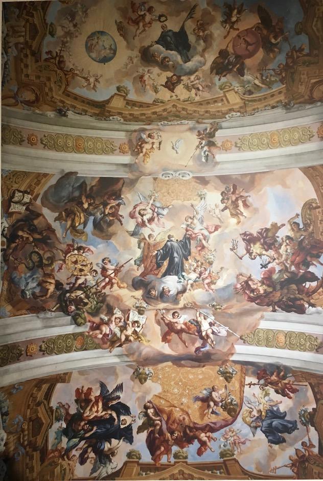 Kloster Melk Benediktinerstift Melk UNESCO-Weltkulturerbe Wachau Österreich Decken-Fresko in der Stiftsbibliothek von Kloster Melk Österreich