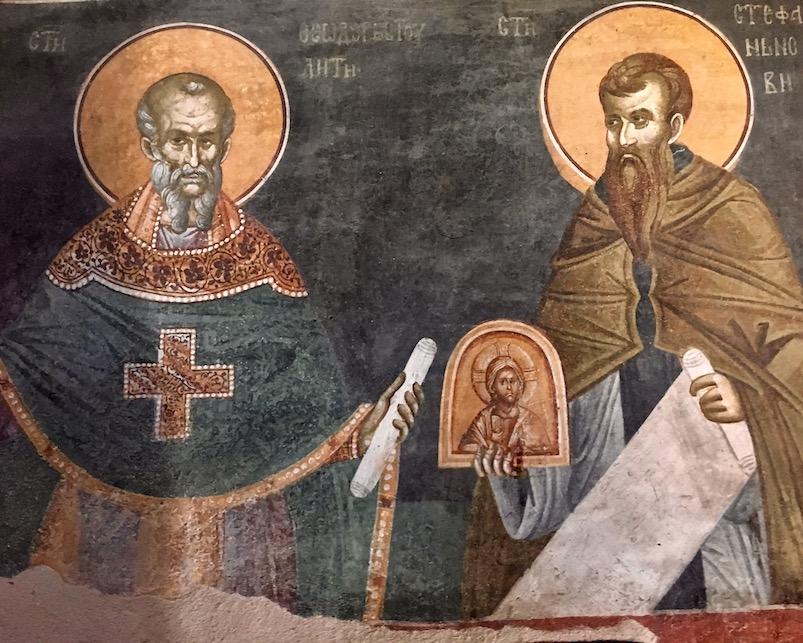 Detail St. Theodor Studit und St. Stephen der Neue Fresken im Kloster Gracanica Kosovo