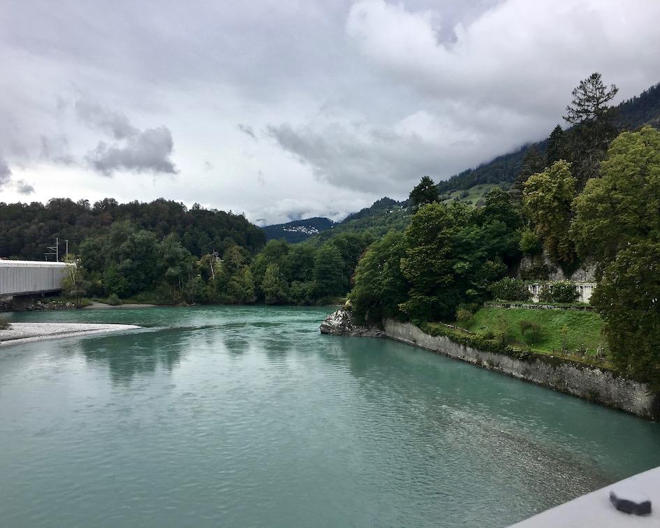 Am Zusammenfluß Vorderrhein und Hinterrhein Schweiz