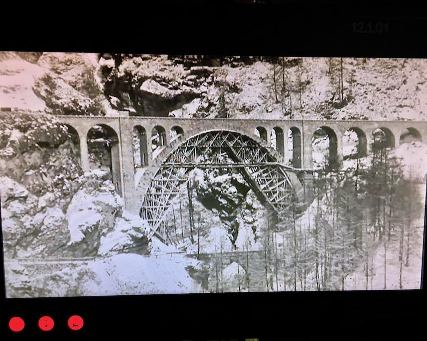 UNESCO-Weltkulturerbe Rhätische Bahn Graubünden Schweiz Bahnmuseum Albula Bergün Schweiz Bauphase Solis-Viadukt