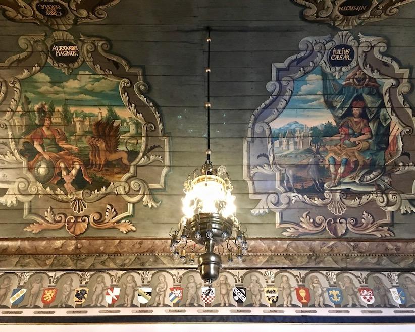 Barocke Malerei am Tonnengewölbe Rathaus Mühlhausen Thüringen