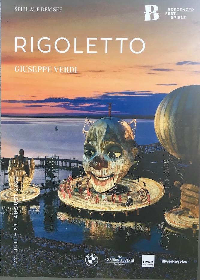Bregenzer Festspiele Bregenz Seebühne Rigoletto Bühnenbild Bregenz Bodensee Rigoletto Plakat