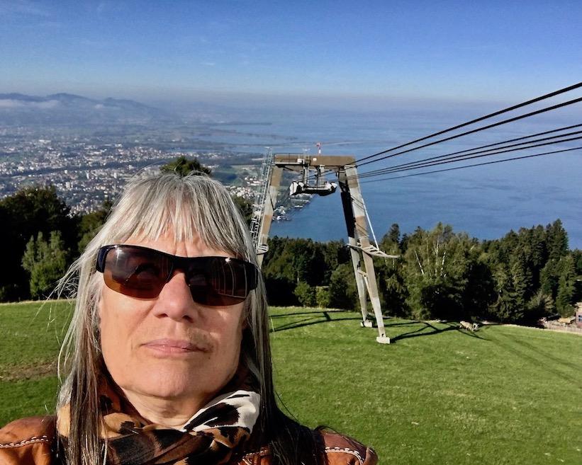 Selfi mit Pfänderbahn Bodenseeblick