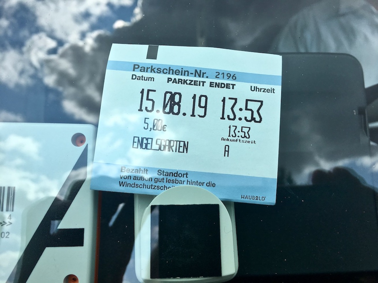 erstes Parkplatzticket des Stellplatzes Engelsgarten