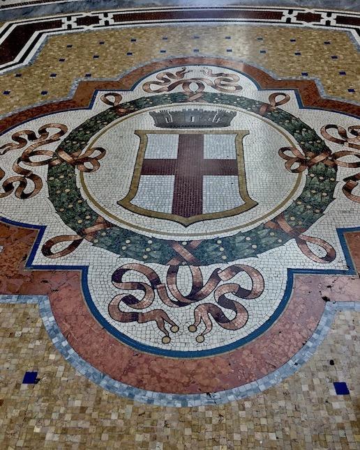 Mosaikboden Galleria Vittorio Emanuele II Mailand Italien Stadtwappen Mailand