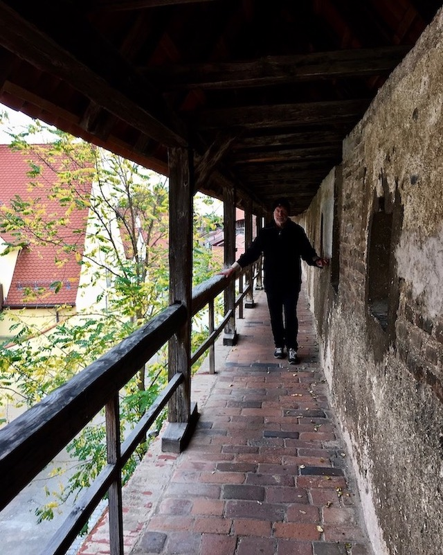 Wehrgang auf der Stadtmauer Nördlingen Deutschland
