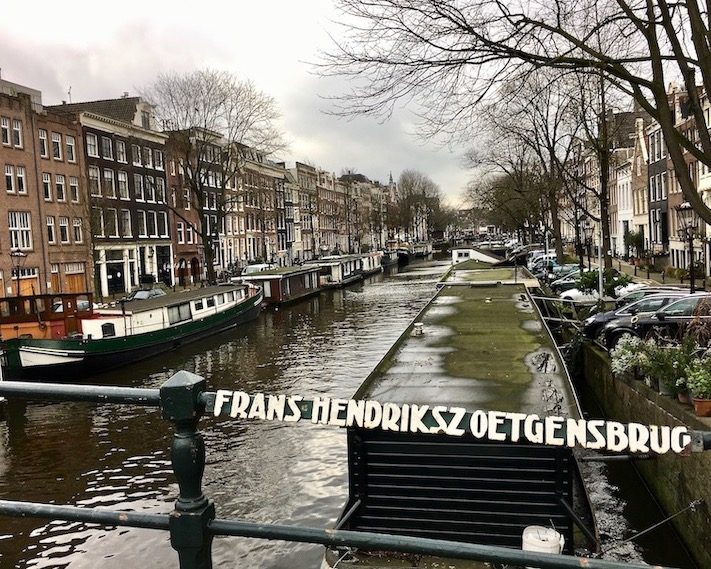 Hausboote auf der Prinsengracht Amsterdam Niederlande