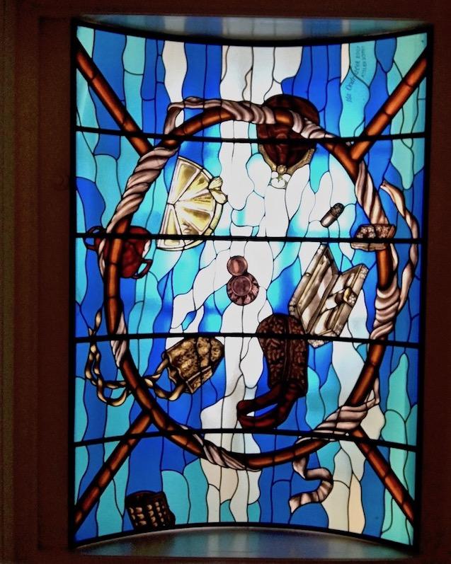 Tassenmuseum-Hendrikje Decke mit Glasmalerei Amsterdam Niederlande