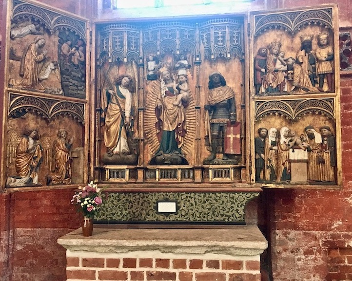 St.Nikolai-Kirche Wismar Altaraufsatz der Krämergilde Wismar Deutschland