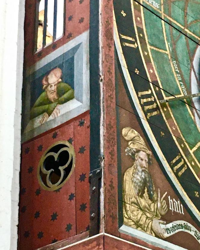 St.Nikolai-Kirche Stralsund Astronomische-Uhr Detail Bildnis von Nikolaus Lilienfeld Stralsund Deutschland