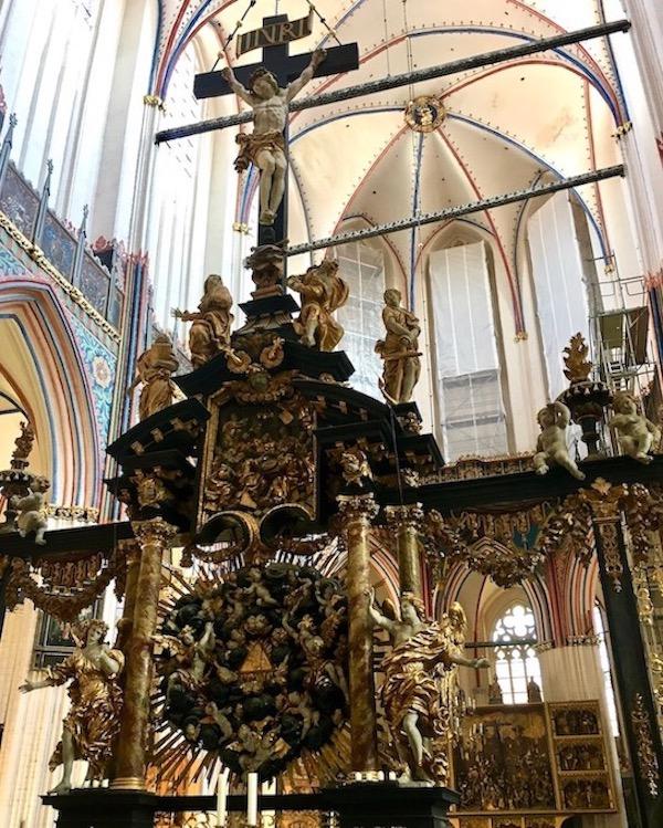 St.Nikolai-Kirche Stralsund Zweiseitige Chorschranke Kruzifixe Triumphkreuz Stralsund Deutschland
