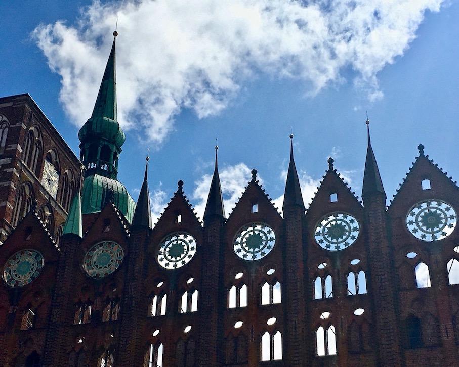 Stralsunder Rathaus Schaufassade Backsteingotik Detail Stralsund Deutschland