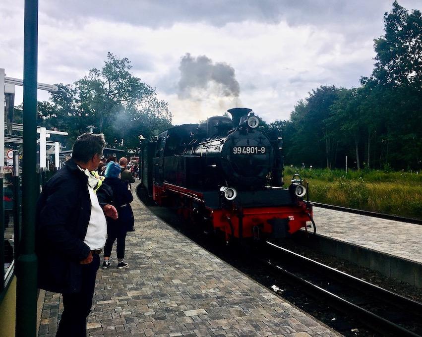 Insel Rügen Bahnhof Sellin Rasender Roland fährt in den Bahnhof