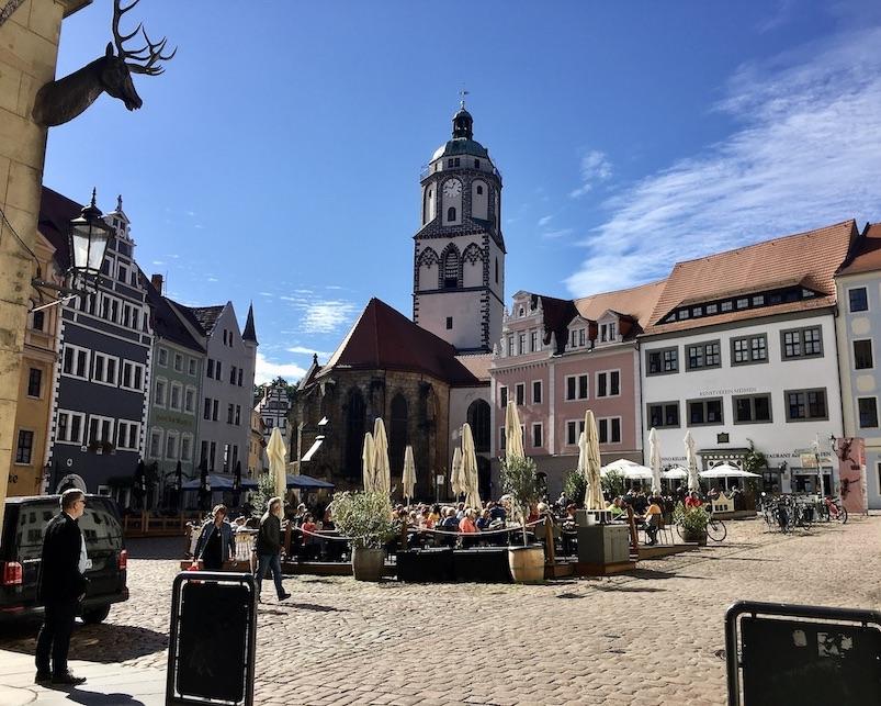 Meißen Sehenswürdigkeiten Altstadt Elbe Sachsen Meißen Sachsen Marktplatz mit Frauenkirche