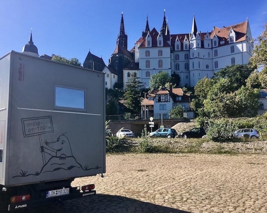 Meißen Sehenswürdigkeiten Altstadt Elbe Sachsen Meißen Sachsen Schloss-Albrechtsburg Wohnmobil-Stellplatz an der Elbe mit mole-on-tour
