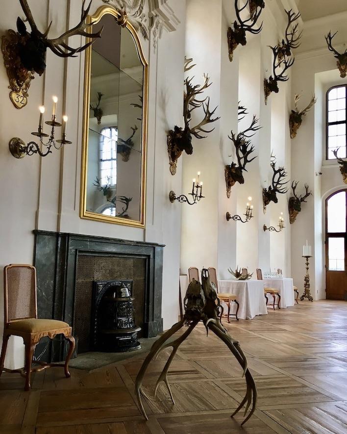 Schloss Moritzburg Sachsen Festsaal verkämpftes Rothirschgeweihpaar