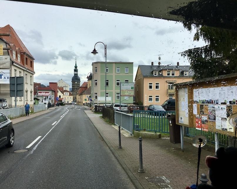 Bad Schandau Elbe Blick zur St.Johannis-Kirche am Marktplatz