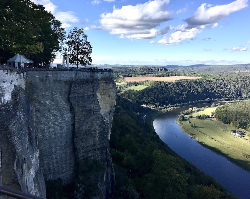 Festung Königstein Elbsandsteingebirge Sachsen Blitzeichenplateau mit neuer Eiche