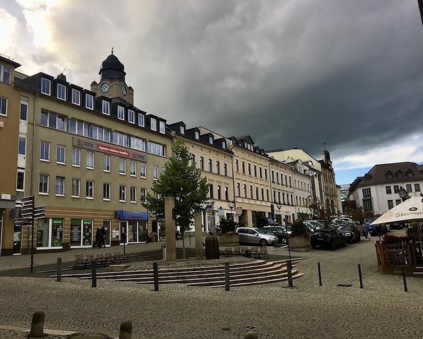 Plauen Vogtland Klostermarkt Dunkle Wolken