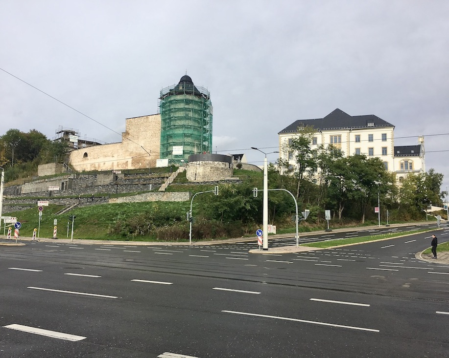 Plauen Vogtland Schlossberg Roter-Turm mit Schlossterassen
