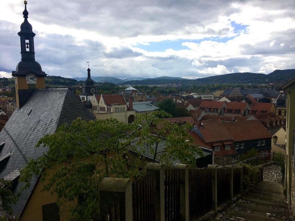 Rudolstadt Thüringen Altes Rathaus vom Aufstieg zum Schloss Heidecksburg