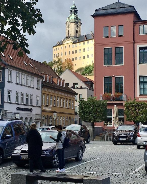 Rudolstadt Thüringen Marktplatz Blick zum Schloss Heidecksburg