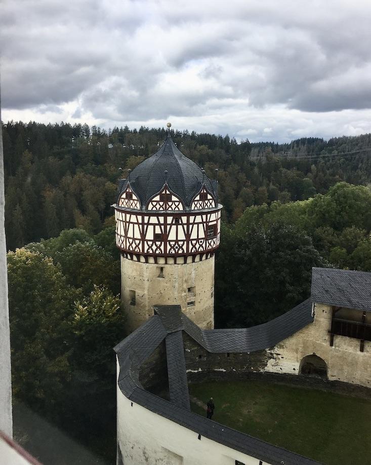 Schloss Burrgk Thüringen Saale-Orla-Kreis Roter-Turm mit Fachwerkhaube