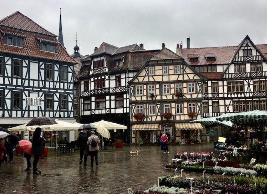 Schmalkalden Thüringen Die Salzbrücke Platz mit Fachwerkhäusern