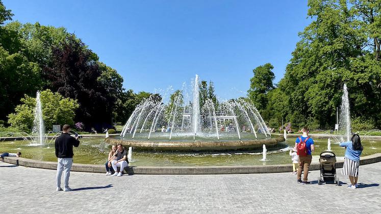 Bad Oeynhausen Fontäne im Kurpark Wasserspiele in Bad Oeynhausen