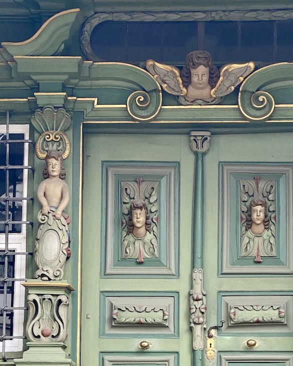 Korbach Hartwigsches Haus Fachwerkhaus mit Barockportal Detail Historische Altstadt Korbach