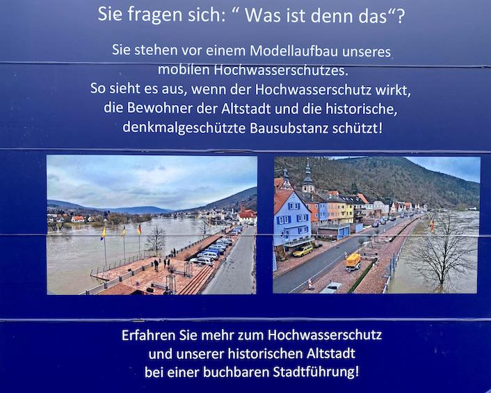 Stadt Freudenberg am Main Hochwasserschutz Mainuferpromenade Infotafel