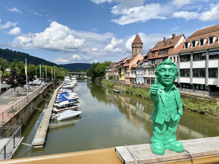 Wertheim am Main Spitzer-Turm Rechte-Tauberseite Mainspitze Optimisten-Gartenzwerge auf Tauber-Brücke Historische Altstadt