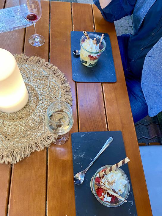 Zell an der Mosel Abendessen Nachtisch im Hotel zum grünen Kranz